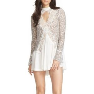 Free People New Tell Tale Lace Minidress In Ivory